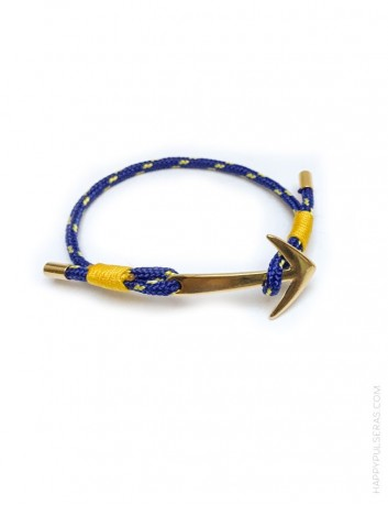 regalo original pulsera para verano con cabo náutico de color azul y amarillo. Pulsera ajustable.