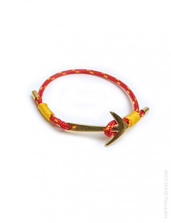 regalo original pulsera marinera con arpón, colores selección española rojo y amarillo