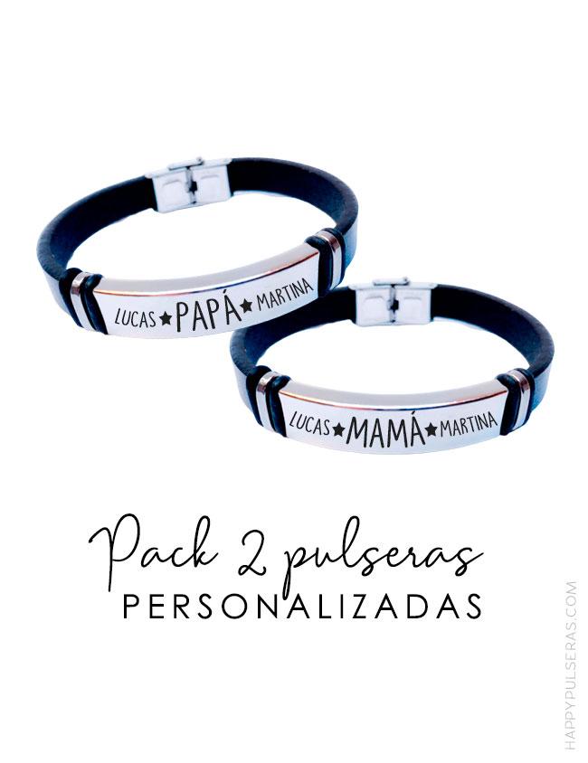Pulseras cuero negro personalizadas para parejas