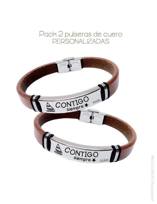 Pulsera cuero liso pack dos pulseras personalizadas parejas