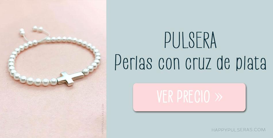 Pulsera cruz de plata perlitas para Primera Comunión