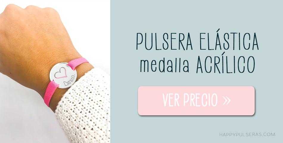 Pulsera personalizada con medalla personalizadle en acrílico