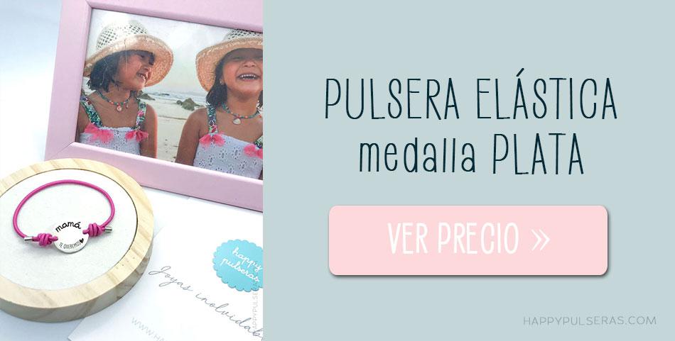 Pulsera con medalla de plata personalizada elástico