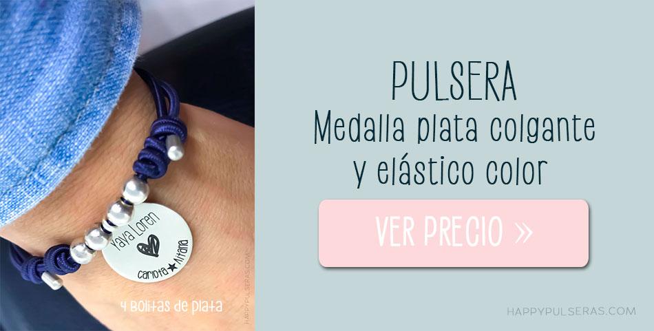 Pulsera personalizada de plata con medalla colgante-Happypulseras