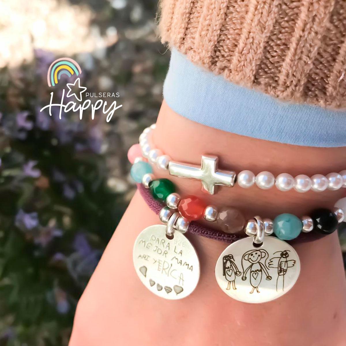 Pulsera piedras naturales y plata con medalla grabada con dibujo de tu hijo
