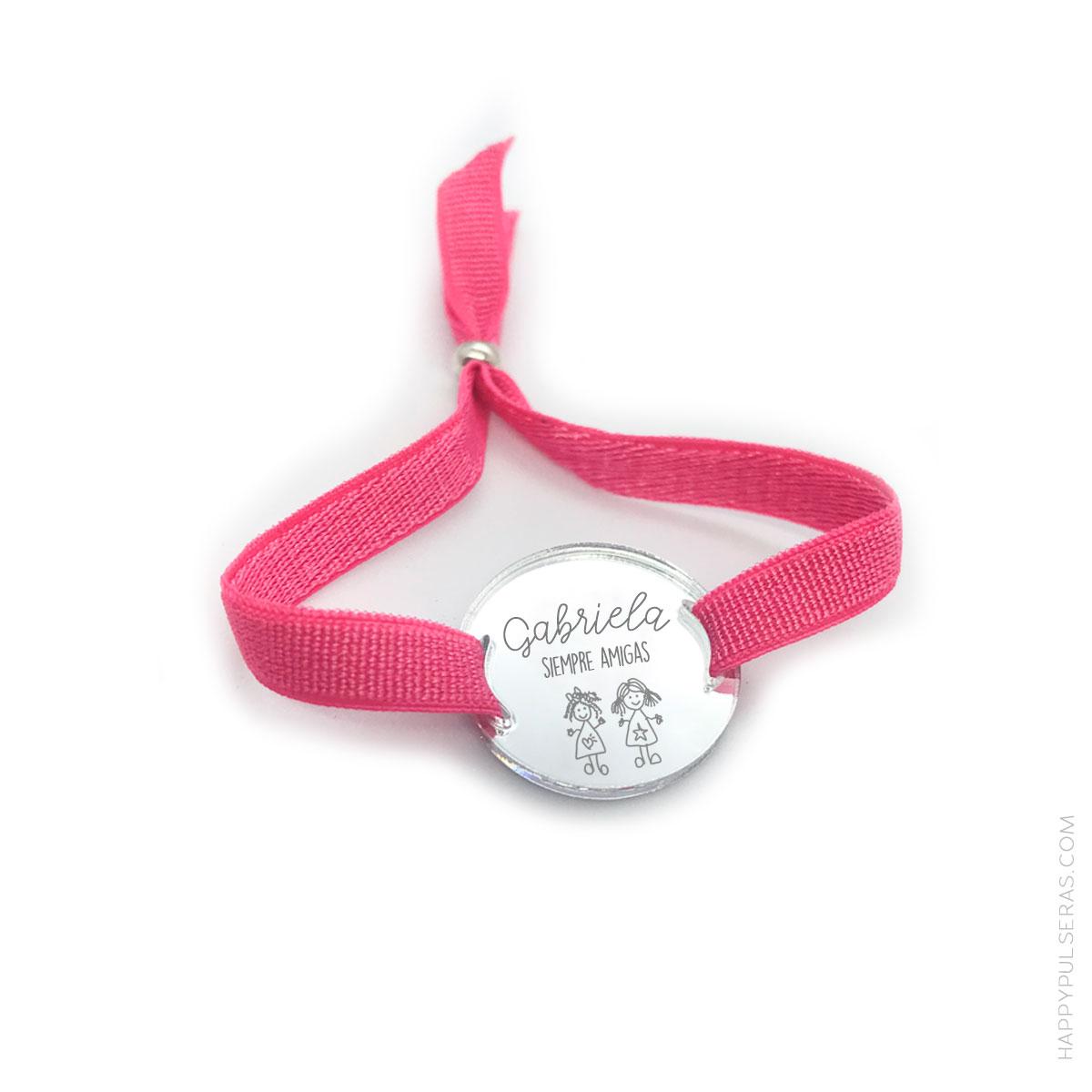 Pulsera de elástico ancho y medalla de acrílico
